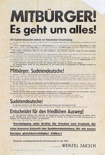 """Provolání Jakschovo ze 14. září 1938: """"Spoluobčané, jde o všechno!"""", proti """"osudné cestě imperialismu"""", pro """"novou Evropu rovnoprávných národů"""""""
