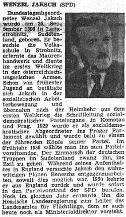 """V říjnu 1953 ho takto představil ústřední list vyhnaných krajanů po volbách do Spolkového sněmu jako jednoho z poslanců sudetoněmecké """"Volksgruppe"""""""