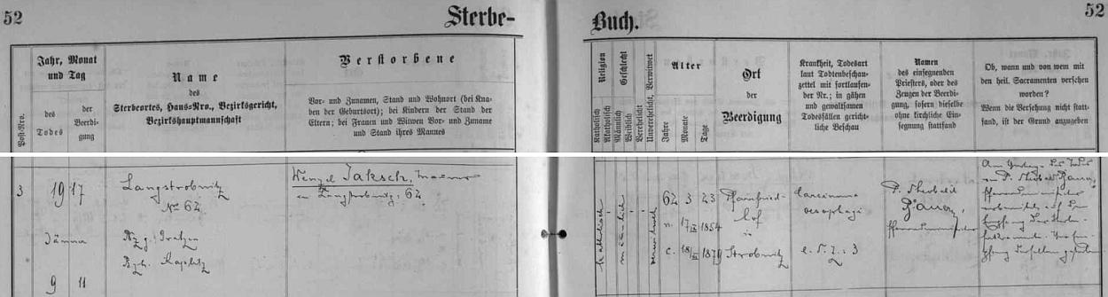 """Záznam matriky farní obce Horní Stropnice o úmrtí zedníka Wenzela Jaksche 9. ledna 1917 v Dlouhé Stropnici čp. 62 (otec """"našeho"""" Wenzela Jaksche to zřejmě nebyl, ačkoli i jméno otcovo a synovo se nijak nelišilo, poněvadž podle podrobného životopisu, jehož autorem je ve sborníku Wenzel Jaksch - Sucher und Künder /tj. """"hledač a posel""""/ Ernst Paul, zemřela matka v devíti /1905/, otec v šestnácti letech synova věku /1912/)"""
