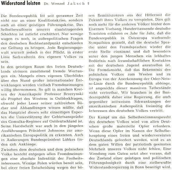 Jeho text o politice spolkového Německa se staví kriticky k výrokům Zbigniewa Brzezinskiho (zde psaného Brzezynski),     manžela praneteře Edvarda Beneše Emilie Anny, roz. Benešové