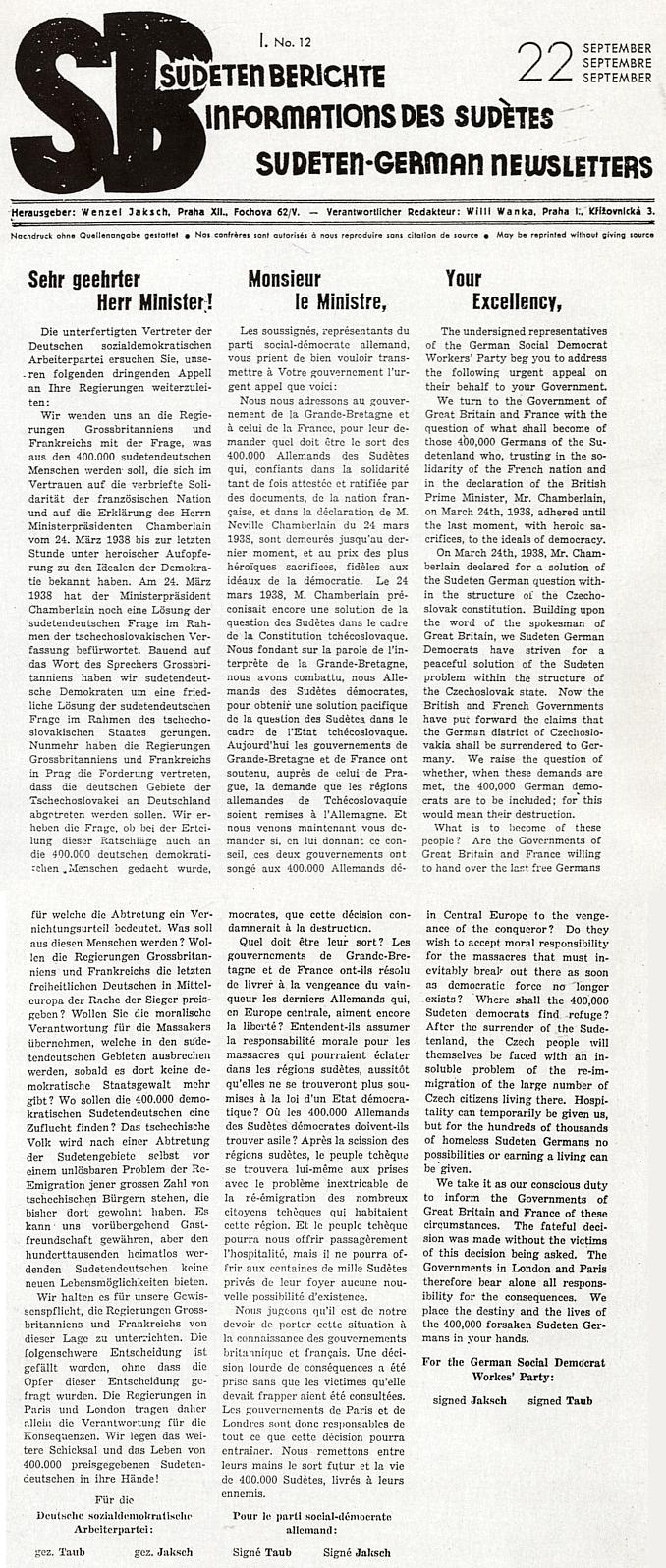 První a druhá strana (1938) jím vydávaného týdeníku s textem, adresovaný vládám Velké Británie a Francie