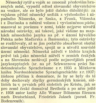 Pasáž textu Ladislava Hegera, týkající se německých nářečí u nás, polemizuje s románem Alle Wasser Böhmens fliessen nach Deutschland