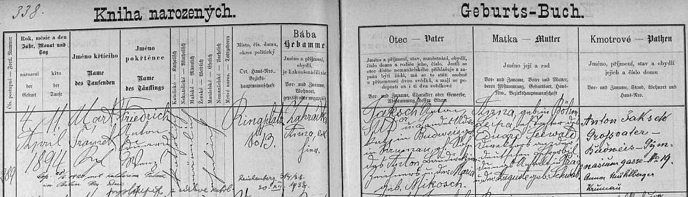 """Záznam v českobudějovické """"Knize narozených"""" svědčí i o tom, že se zde pokřtěný v roce 1920 oženil v Bílině s Katharinou Palmeovou a v prosinci 1938 jako přesvědčený národní socialista vystoupil z římskokatolické církve"""