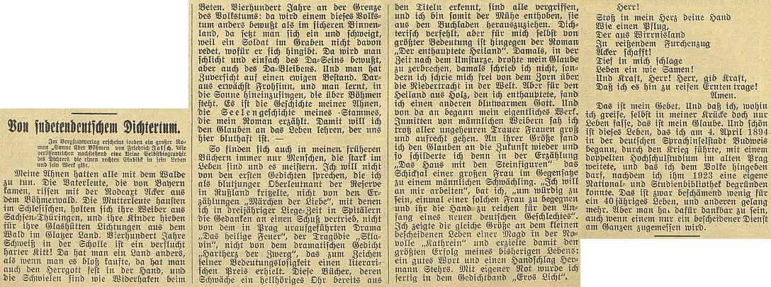 Jeho vlastní životopis na stránkách českobudějovického německého listu v prosinci roku 1933