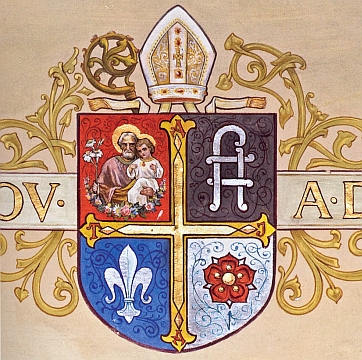 Znak opata Tecelina Jaksche na kruchtě klášterního kostela ve Vyšším Brodě
