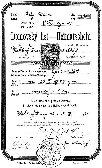 Domovský list i s jeho podpisem