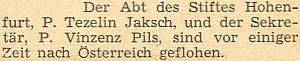 Zpráva o jeho útěku v červenci 1948 přes hranice se objevila na stránkách krajanského měsíčníku s téměř ročním zpožděním