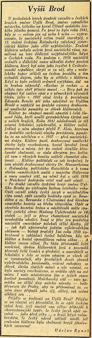 Článek sociálně demokratického listu Jihočech z31.října 1945 dokazuje loajalitu Jakschovu nad jiné výmluvně