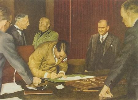 """Podpis mnichovské dohody na """"Hitlerově"""" stole"""