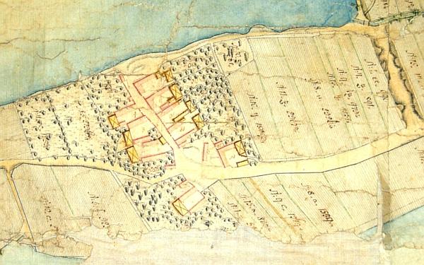 Haklovy Dvory na katastrální mapě z roku 1781 a po požáru na mapě stabilního katastru z roku 1827