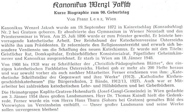 Jeho krátký životopis, který napsal do krajanského časopisu Franz Xaver Lenz