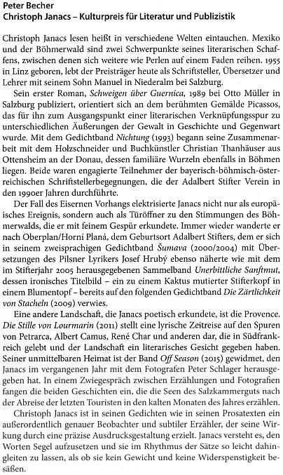 Laudatio Petera Bechera k udělení Kulturní ceny Sudetoněmeckého krajanského sdružení Christophu Janacsovi v roce 2016