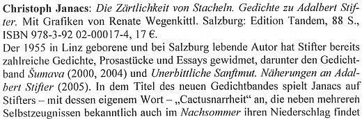 """Obálka (Edition Tandem Salzburg, 2009) a recenze jeho knihy veršů pod názvem """"Něha ostnů"""", věnovaných Adalbertu Stifterovi isjeho kaktusářskou vášní"""