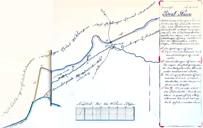 Plán Franze Janowskyho na změnu řešení skluzu Sekerského potoka, na jehož zvlněné trase jsou vyznačeny mlýny Sattelbergmühle a Grünbergermühle