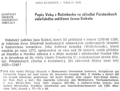 Úvod článku v Jihočeském sborníku historickém a poznámka k němu