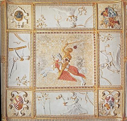 Motiv rožmberského jezdce ve štukové výzdobě tzv. zlatého sálu na zámku Kratochvíle u Netolic