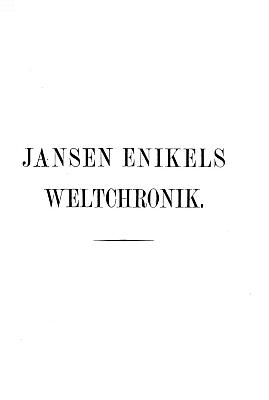 Titulní list novodobé edice jeho Kroniky světa z roku 1900 (ed. Strauch)
