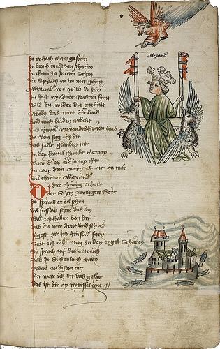 Jiná strana z jeho Kroniky světa s kresbou letu Alexandra Velikého na křídlech bájných gryfů