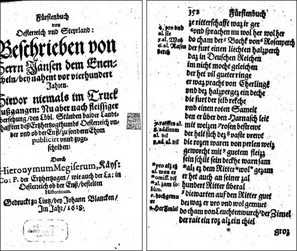 """Titulní list lineckého vydání (1618) Enikelova díla """"Fürstenbuch"""" s pasáží o Vokovi z Rožmberka v dobově fonetickém přepisu"""
