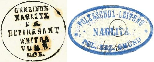 Úřední razítko Nakolic z roku 1881 a razítko místní školy z roku 1917