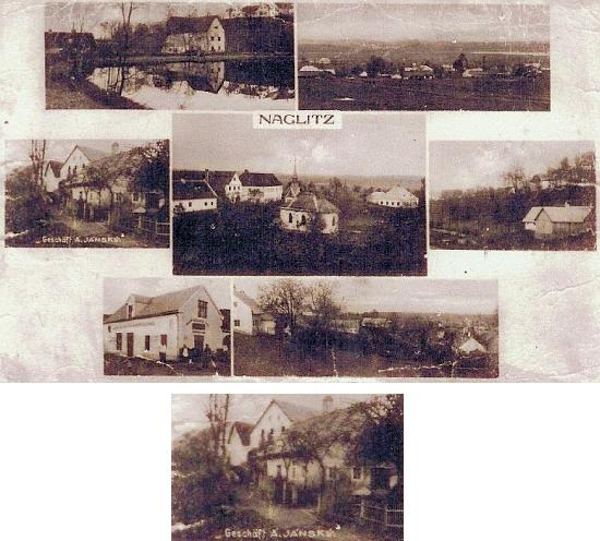 """Na pohlednici """"Naglitz"""" najdeme i obchod pana """"Jánskýho"""""""