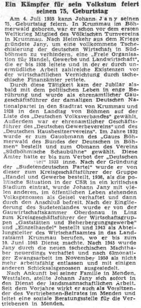 Medailon k jeho pětasedmdesátinám na stránkách ústředního listu vyhnaných krajanů roku 1955