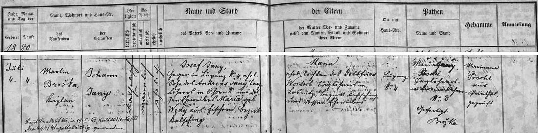 """Narodil se 4. července 1880 hajnému Josefu Janymu ve Slupenci čp. 4 (synovi nádeníka Andrease Janyho v dnes částečně zničeném Záhorkově /Ahorn/ a Marie roz. Widyové ze zaniklého Stěžerova /Fischern/), a jeho ženě Marii, roz. Woitschové, dceři nádeníka Gottfrieda Woitsche z Lazce (Losnitz) - podle přípisu z ledna 1942 se stal pouhým """"gottgläubig"""", tj. """"věřícím v Boha"""""""