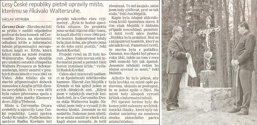 Úryvek článku Váslava Votruby k slavnostnímu aktu odhalení kříže na místě Walterovy hrobky, jehož se účastnil 18. dubna 2010 i Karel Schwarzenberg