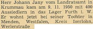 Zpráva krajanského měsíčníku o jeho příjezdu v listopadu 1950 do SRN s uvedením adresy v Menden, kde bydlil u své dcery