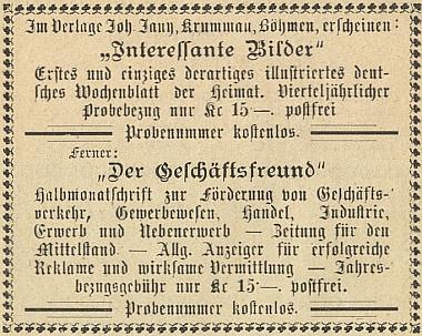 Inzerát jeho nakladatelství z roku 1922