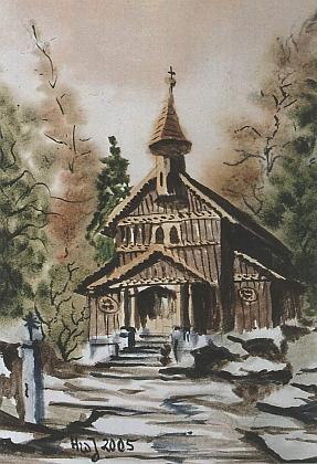 Jeho akvarel se Stožeckou kaplí z roku 2005