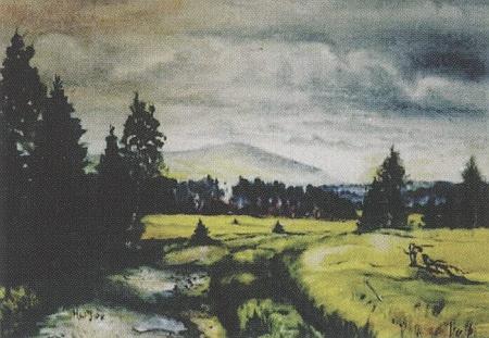 """Stožecká """"niva"""" se Stožeckým vrchem v pozadí na jeho akvarelu"""