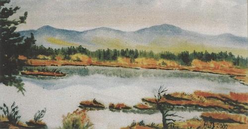 """Chalupská slať na jeho akvarelu technikou """"alla prima"""""""