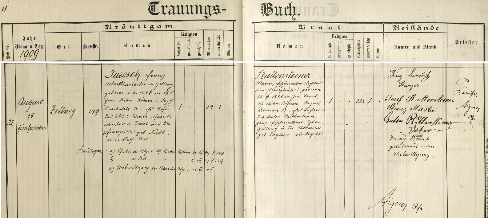 Záznam o svatbě prarodičů z oddací matriky štýrské farní obce Lind bei Zeltweg