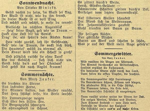 """Dvě její """"letní"""" básně figurují v Budweiser Zeitung vedle té o letním slunovratu, jejímž autorem je Ottokar Winicky"""