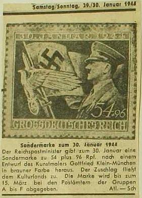 """Zvláštní známka """"Velkoněmecké říše"""", vydaná roku 1944 k 11. výročí Hitlerova uchopení moci - co asi bylo toho času s Mary Jaukerovou?"""