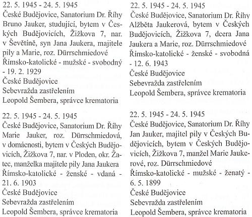 Záznam o sebevraždě celé českobudějovické rodiny Jaukerovy v květnových dnech roku 1945 z knihy zemřelých a pohřbených děkanského úřadu, kde figuruje rovněž jméno Marie, rozené ovšem Dürrschmiedové zBlatné (Ploden) na Žatecku