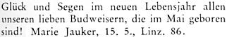 """Jedna """"budějovická"""" Marie Jaukerová se podle tohoto řádku na stránkách krajanského časopisu dožila 15. 5. 1981 v rakouském Linci 86 let"""