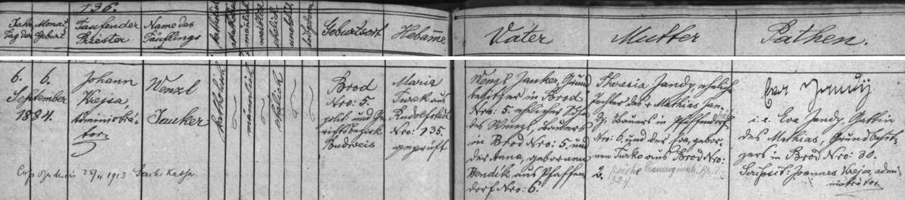 Záznam rudolfovské matriky o narození otcově s pozdějším přípisem o jeho svatbě 25. listopadu 1913 v Českých Budějovicích