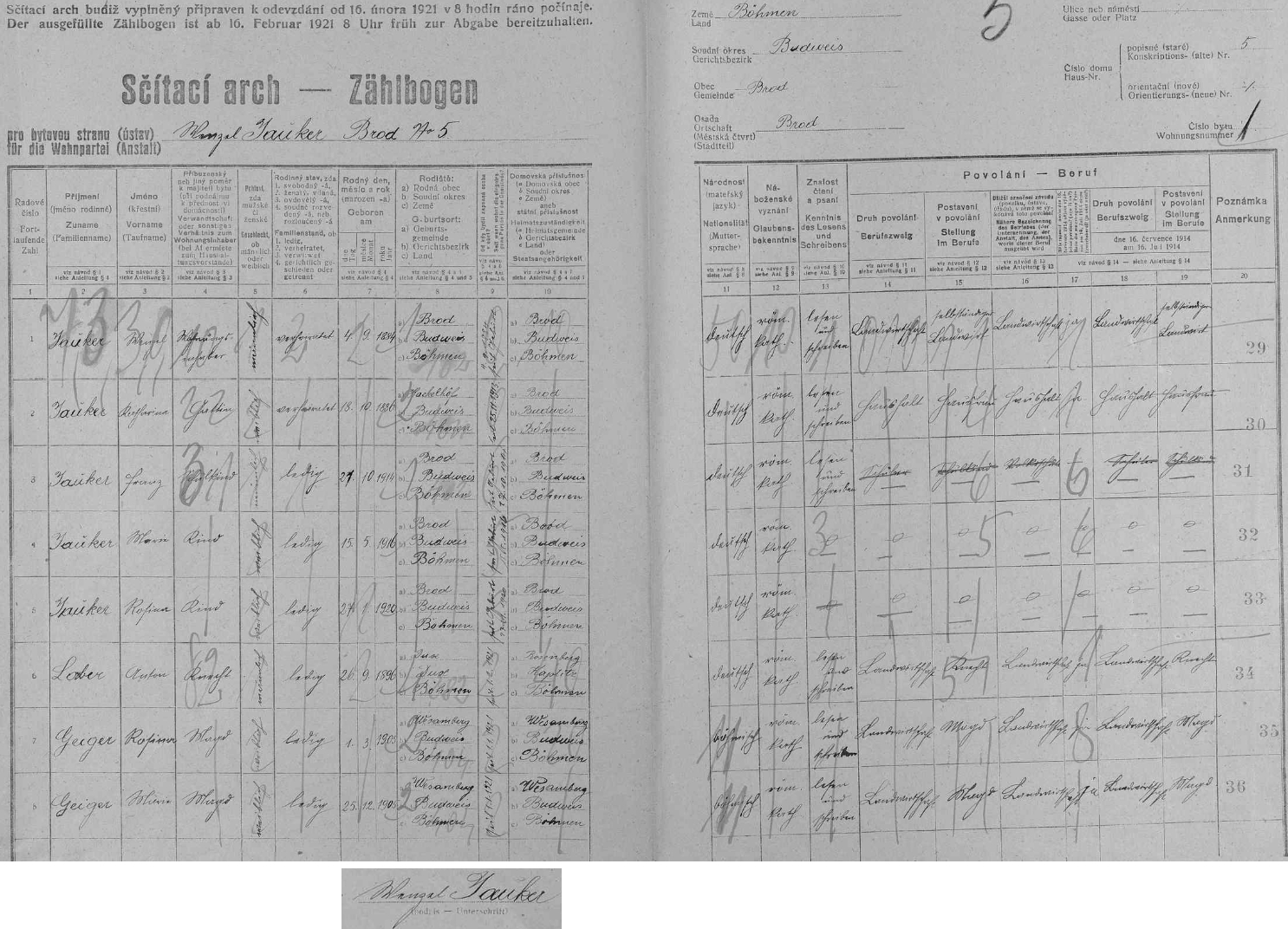 Arch ke sčítání lidu z roku 1921, tedy rok před jeho narozením, je podepsán jeho otcem a uvádí vedle manželů Wenzela a Kathariny Jaukerových na stavení čp. 5 také jejich děti Franze (*1920), Marii (*1916) a Rosinu (*1920), jakož i čeledína Antona Labera rodem z Duchcova (Dux) a děvečky Rosinu a Marii Geigerovy z Vesky (Wes am Berg či Wesamberg) u Rudolfova