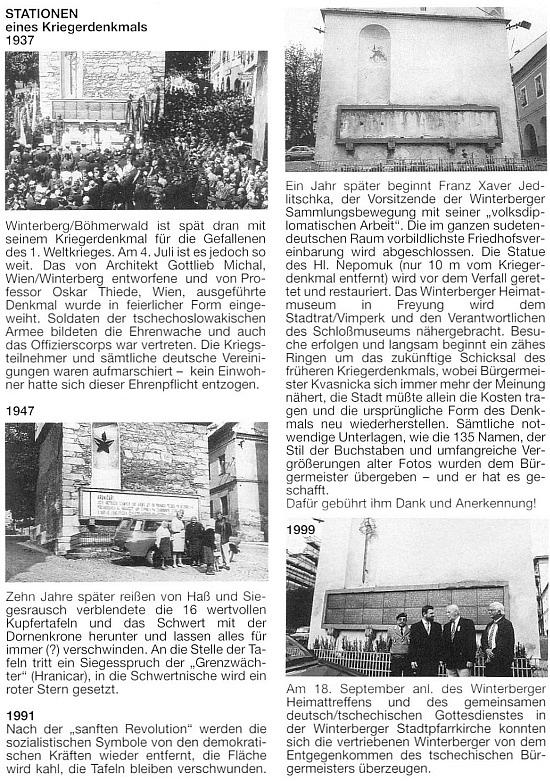 Dokumentace k obnově vimperského památníku padlým v první světové válce, po té druhé odstraněného a v roce 1999 i za jeho účasti znovuodhaleného