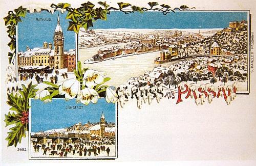 Vánoční pozdrav z Pasova na staré pohlednici