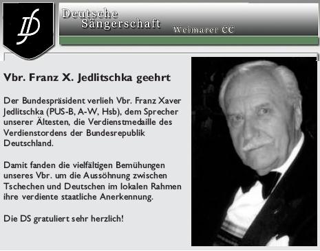 """Zpráva o udělení medaile řádu za zásluhy v časopise celoněmeckého pěveckého sdružení """"Deutsche Sängerschaft Weimarer CC"""", jehož byl předsedou od roku 1986"""