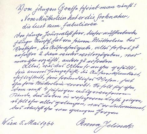 Úvod k její rukopisné kronice rodu Abeleových, datovaný ve Vídni ke dni 5. května roku 1964