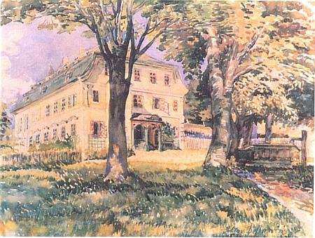Zámek v Debrníku na akvarelu Tiny (Ernestiny) Prischingové