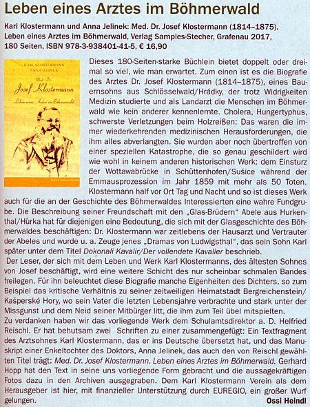 Recenze její knihy o životě lékaře Josefa Klostermanna, vydané v Grafenau roku 2017