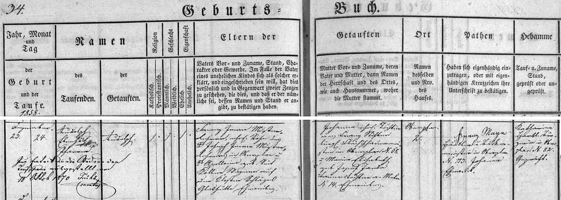 Narodil se v Horní Plané čp. 2 učiteli Franzi Jennemu a jeho ženě Johanně, roz. Stifterové, dceři řezníka v Horní Plané čp. 68