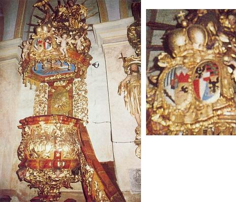 Alianční erb knížecích domů Schwarzenberg a Liechtenstein na barokní kazatelně minoritského klášterního kostela v Českém Krumlově