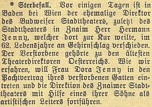 Zpráva o jeho úmrtí v českobudějovickém německém listu