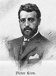 """Operetní libretista Victor Léon, jehož rodištěm byla dnes slovenská Senica, napodobence signované jménem Vilimek (jde o Jana Vilímka) z časopisu """"DerHumorist"""""""